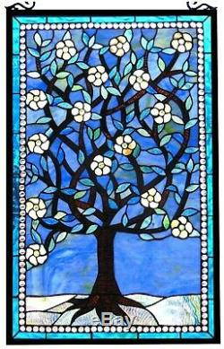 32 x 20 Mother Nature's Tree Tiffany Style Stained Glass Window Panel
