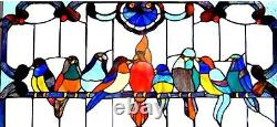 32 x 20 Song Birds on Wire Tiffany Style Stained Glass Window Panel with Chain