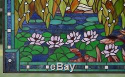 34.5 x 20.5 Stained glass window panel Waterlily Lotus Flower Pond