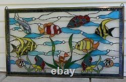 34.5 x 20.5 Tropical Fish under the Sea Handcrafted stained glass window panel