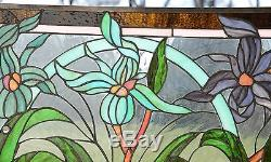 34.75L x 20.75H Tiffany Style jeweled stained glass window panel Iris Flowers