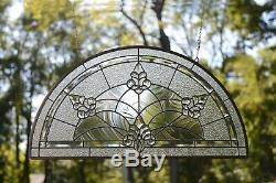 34 x 18 Stunning Handcrafted All Clear stained glass Beveled window panel