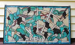 34 x 20 Home Decor Jeweled Tiffany Style stained glass window panel Grape vine
