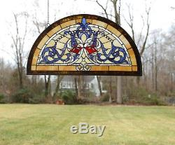 34L x 18.25H Half Round Tiffany Style stained glass window Glass panel
