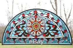 34L x 18H Half Round Tiffany Style stained glass window Jeweled Glass panel