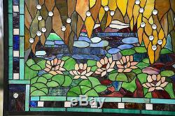 35 x 21 Stained glass window panel Waterlily Lotus Flower Pond