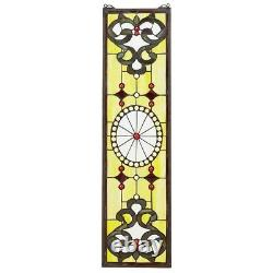 36.5 H x 9 W Victorian Art in Bloom Tiffany-Style Stained Glass Window Panel