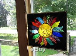 3D Smiling Sun Stained Glass Windows Panel Original