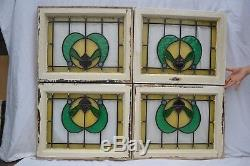 4 English leaded light stained glass window panels. R662. WORLDWIDE DELIVERY