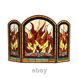42 W x 28 H Tiffany Style Stained Glass Arch 3 Section Fireplace Screen Panel