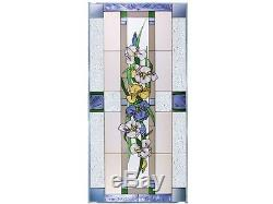 42x20 IRIS Blue Yellow White Floral Stained Art Glass Window Panel Suncatcher