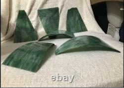 6 Antique Slag Stained Curved Bent Glass Lamp Shade Replacement Panels