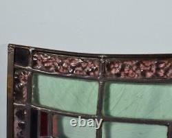 65 Wide Vintage French Stained Glass Panel with Brass and Leaded Framing