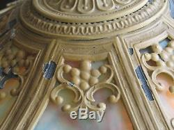8 Panel Antique 24 Handel Era Lighthouse Stained Leaded Slag Glass Lamp