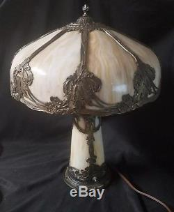8 Panel Art Nouveau B&H Handel Era Lighthouse Stained Leaded Slag Glass Lamp