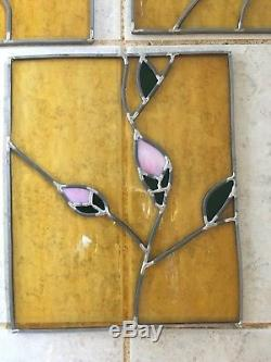 8 Vintage Stained Glass Window Panels Handmade Leaded Floral Rose
