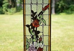 9 x 36 Rose Flowers Tiffany Style stained glass window panel