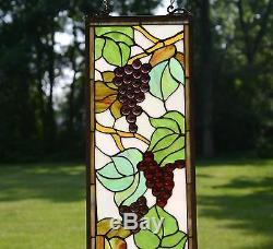 9 x 36 Tiffany Style stained glass window panel flower Grape with Vine