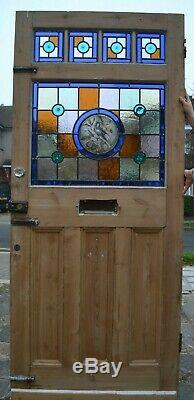 908 x 2125mm front door leaded light stained glass STRIPPED AND NEW PANELS R520