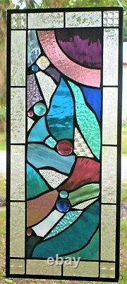 ABSTRACT DREAM 23-1/4 x 10-1/ REAL stained glass window panel hangs 4 ways