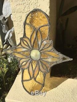 ANTIQUE BUBBLE BULLSEYE w OPALESCENT PEBBLED STAINED GLASS FLOWER PANEL WINDOW