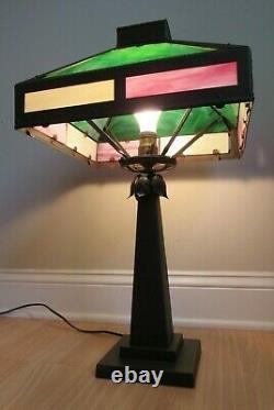 ANTIQUE arts & crafts LAMP slag stained glass TWELVE PANEL brown mission 1910