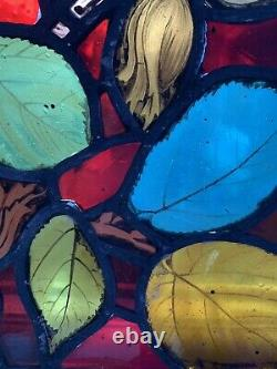 ANTIQUE arts & crafts STAINED GLASS & LEAD WINDOW PANEL painted leaves foliage
