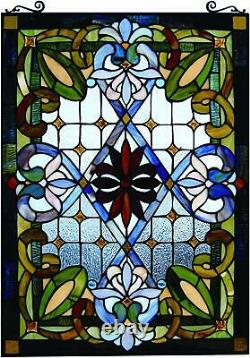 Abstract Green and Blue Stained Glass Panel