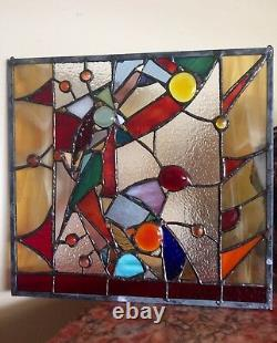 Abstract Stained Glass Panel Contemporary Window Handmade OOAK