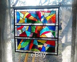 Abstract Stained Glass Window Panel Suncatcher with Bevels 20x20