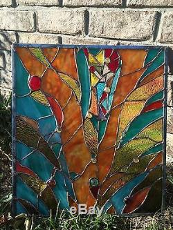 Abstract Stained Glass Window Transom Contemporary Panel OOAK