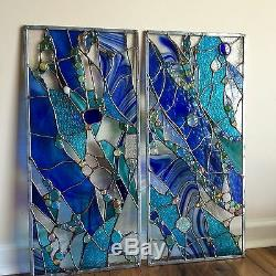 Abstract Stained Glass Window Transom Panel Contemporary (Set of 3)