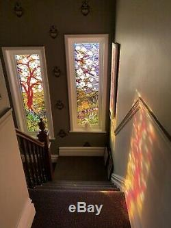 Abstract Stained glass style hand painted toughened glass panel to frame