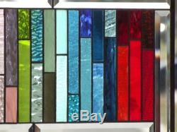 All the pretty Colors Beveled Stained Glass Window Panel 21 3/4 x 11 7/8