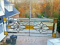 Amber Stained Glass Beveled Window Panel Transom