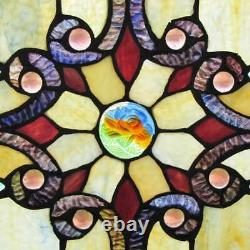 Amber Tiffany Style Stained Glass 26-in Window Panel Suncatcher Victorian Theme