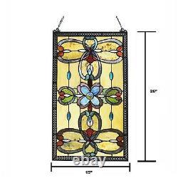 Amber Tiffany Style Stained Glass Window Panel Suncatcher Victorian Theme 26x15