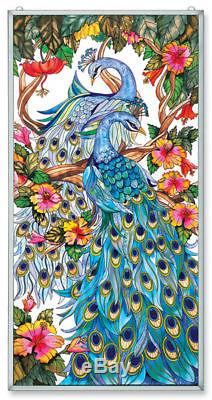 Amia Stained Glass 20 X 40 Peacock Window Panel 9711
