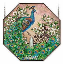 Amia Stained Glass Suncatcher 22 X 22 Octagon Panel Jewel Garden Peacock 42575