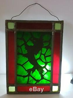 Antique 19th C.'English Scottish Lion' Stained Glass Leaded Glass Window Panel