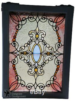 Antique 19th Century Reclaimed Stained Glass Window Panel Cincinnati Ohio Fleur