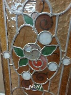 Antique Art Nouveau Reclaimed Stained Glass Window Panel