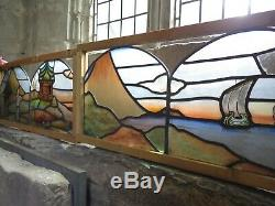 Antique Arts & Crafts Stained Painted Leaded Glass Chinoiserie Landscape Panels