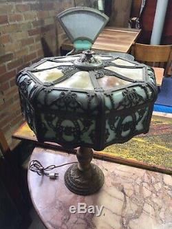 Antique BENT PANEL Lamp Shade BUFFY TOP Filigree Stained Leaded Glass Lamp