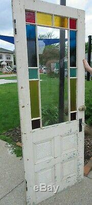 Antique Door Queen Anne Stained Glass Window Carved Panels 32x82
