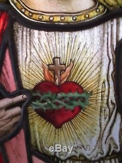 Antique Early Stained Glass Window Panel European Church of Jesus