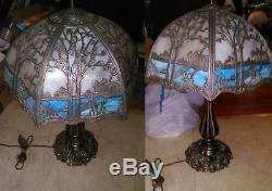 Antique Forest Scene Miller Hubbard 6-Panel Curved Slag Stained Glass Lamp