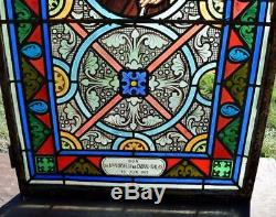 Antique French Stained Glass Panel withLeaded Glass Joseph Religious