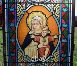 Antique French Stained Glass Panel withLeaded Glass Mary and Jesus Religious