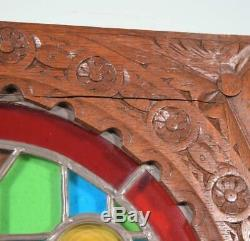 Antique French Stained/Leaded Glass Panel with Wood Frame Salvage